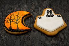 Halloween holiday cookies in the shape of ghosts. Royalty Free Stock Images