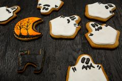 Halloween holiday cookies in the shape of ghosts. Stock Image