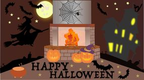 Halloween. Holiday Halloween decoration room with fireplace Royalty Free Stock Image