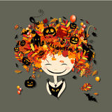 Halloween holiday design, female head Stock Images