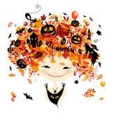 Halloween holiday design, female head Stock Image