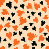 Halloween holiday design with orange and black grunge abstract hearts elements. Royalty Free Stock Photos
