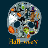 Halloween holiday flat icons in shape of skull Royalty Free Stock Photo