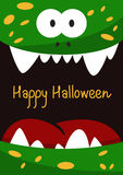 Halloween holiday gift card  with green smiling monster Royalty Free Stock Image