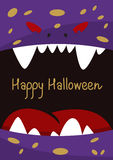 Halloween holiday gift card  with monster.  Royalty Free Stock Photo