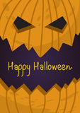 Halloween holiday gift card  with pumpkin evil lantern Royalty Free Stock Photos