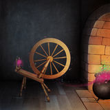 Halloween card. Halloween holiday greeting card, illustration or poster room with  hearth and  magic spinning wheel. Computer graphics Royalty Free Stock Photos