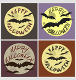 Halloween holiday greeting card  set. Halloween full moon  holiday card poster set.Vector illustrations Stock Images