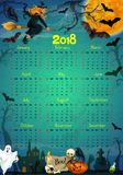 Halloween holiday horror vector calendar 2018. Halloween calendar 2018 template. Vector design of trick or treat horror night party with Halloween pumpkin, witch Royalty Free Stock Images