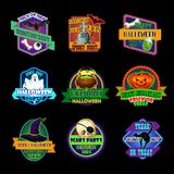 Halloween holiday icon and horror party label. Halloween holiday icon of horror party label. Pumpkin lantern, ghost, bat, skeleton skull, witch hat and potion Stock Image