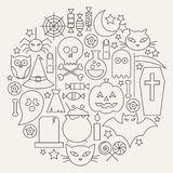 Halloween Holiday Line Icons Set Circular Shaped Stock Image