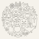 Halloween Holiday Line Icons Set Circular Shaped Stock Image