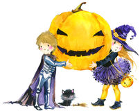 Halloween holiday little girl witch, skeleton boy, black cat,  and Halloween pumpkin. Watercolor illustration background for holid Stock Image