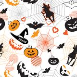 Halloween Holiday Party Treat or Trick seamless pattern stock illustration