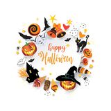 Halloween Holiday Party Treat or Trick Invitation vector illustration