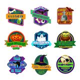 Halloween holiday party trick treat vector icons. Halloween trick or treat party holiday icons. Vector greeting set of magic potion cauldron, zombie eye and hand Royalty Free Stock Images