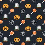 Halloween holiday pattern grave in cemetery, orange pumpkin, spider and cobweb, sweet candy lollipop, dark background. Happy halloween pattern stock illustration