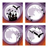 Halloween holiday. Perfect illustration for Halloween holiday. Set of four views of the background of the moon Royalty Free Stock Photography
