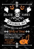 Halloween holiday poster of spooky skeleton skull Royalty Free Stock Photos
