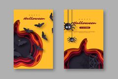 Halloween holiday posters. Paper cut style pumpkin with flying bats and spiders. 3d layered effect, vector illustration. Halloween holiday posters. Paper cut vector illustration
