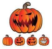 Halloween Holiday Pumpkin Jack O Lantern Set. Five fun pumpkins including scary faces, funny faces and one pumpkin with no face. Great for Halloween and Royalty Free Stock Photo
