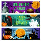 Halloween party banner with ghost on cemetery Royalty Free Stock Images