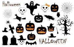 Halloween holiday symbols set isolated on the white. Background vector illustration