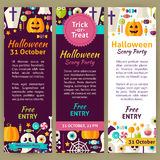 Halloween Holiday Vector Party Invitation Template Flyer Set Stock Photography