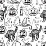 Halloween holiday vector seamless pattern of halloween death reaper, spooky ghost, black cat, bat, skeleton skull, witch Stock Images