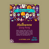 Halloween Holiday Vector Template Banner Flyer Modern Flat Style Royalty Free Stock Image