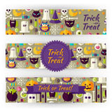 Halloween Holiday Vector Template Banners Set in Modern Flat Sty Royalty Free Stock Image