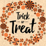 Halloween holiday wearth with bright lollipops. Trick or treat banner design. vector illustration
