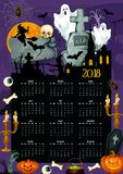 Halloween holiday year calendar template design Stock Images