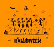 Halloween holiday, young witches for your design Royalty Free Stock Image