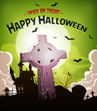 Halloween Holidays Background With Christian Tombstone Royalty Free Stock Photo
