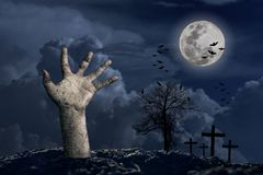 Free Halloween Holidays Calabash Hand In Front Of The Big Moon With A Cloud Below In The Night With A Star Full Of Blue Stock Image - 156727611