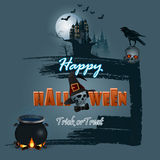 Halloween, holidays, design with spooky skull carrying a crow on top and witches cauldron Stock Images
