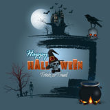 Halloween, holidays, template with scary moonlight scene Stock Photo