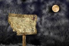 Halloween-Holzausweis Stockfoto