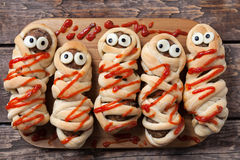 Halloween homemade food sausage meatball mummies Stock Photos