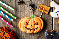 Halloween homemade gingerbread cookie Royalty Free Stock Image