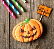 Halloween homemade gingerbread cookie Royalty Free Stock Photography