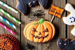 Halloween homemade gingerbread cookie Stock Image