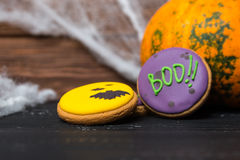 Halloween homemade gingerbread cookies background Stock Images