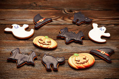 Halloween homemade gingerbread cookies Stock Images