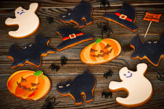 Halloween homemade gingerbread cookies Stock Photos