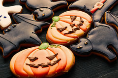 Halloween homemade gingerbread cookies Stock Photography