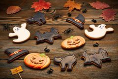 Halloween homemade gingerbread cookies Stock Photography