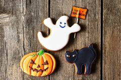 Halloween homemade gingerbread cookies Royalty Free Stock Photography