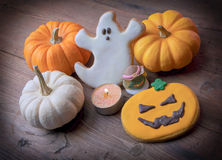 Halloween homemade gingerbread cookies Royalty Free Stock Photos